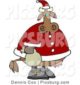 Clip Art of a Spotted Brown Santa Cow with a Bag by Djart