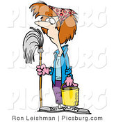Clip Art of a Spring Cleaning Woman with a Mop in Hand by Toonaday