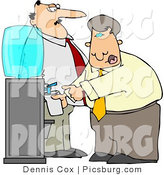 Clip Art of a Stern Boss Man Keeping a Close Eye on an Employee Filling His Cup with Water by Djart