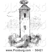 Clip Art of a Stork Nest on a Tower in Black and White by Picsburg