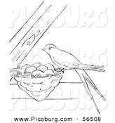 Clip Art of a Swallow Bird on Its Nest Between Beams - Black and White Line Art by Picsburg