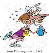 Clip Art of a Sweating and Exhausted Marathon Runner Woman Drinking Water from a Bottle by Toonaday