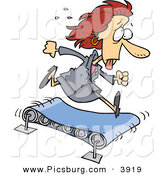 Clip Art of a Sweating Hot Business Woman Running to the Right on a TreadmillSweating Hot Business Woman Running to the Right on a Treadmill by Toonaday