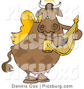 Clip Art of a Sweet Cupid Angel Cow Playing a Small Harp by Djart