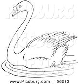 Clip Art of a Swimming Swan in a Pond - Black and White Line Art by Picsburg