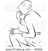 Clip Art of a Thinking Man While in a Seated Position - Black and White Line Art by Picsburg
