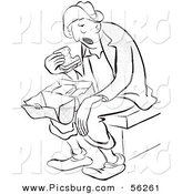 Clip Art of a Tired Worker Eating Unpalatable Sandwich for Lunch - Black and White Line Art by Picsburg