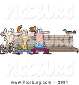 Clip Art of a Trio of Men at Different Ages, Sitting on a Wooden Park Bench by a Pigeon by Toonaday
