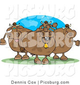 Clip Art of a Trio of Spotted Goofy Cows on Pasture by Djart