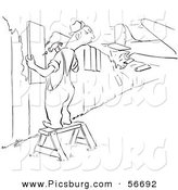 Clip Art of a Upset Retro Vintage Worker Man Repairing a Fence As a Plane Crashes Through Another Section Black and White by Picsburg