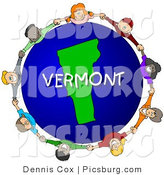 Clip Art of a Vermont Globe with People Holding Hands by Djart
