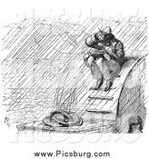 Clip Art of a Vintage Artist Sketching in the Rain, in Black and White by Picsburg