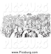 Clip Art of a Vintage Black and White Crowded Pub by Picsburg