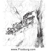 Clip Art of a Vintage Carriage on a Cliff Road, in Black and White by Picsburg