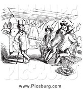 Clip Art of a Vintage Chatty Man on a Boat in Black and White by Picsburg