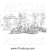 Clip Art of a Vintage Crowd on Shore in Black and White by Picsburg