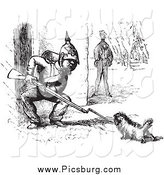 Clip Art of a Vintage Dog Challenging a Soldier in Black and White by Picsburg