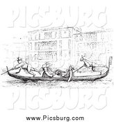 Clip Art of a Vintage Gondola on the Grand Canal by Picsburg