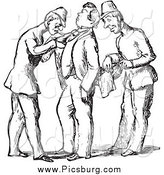 Clip Art of a Vintage Guards Searching a Man in Black and White by Picsburg