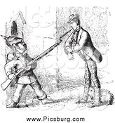 Clip Art of a Vintage Man Defending a Dog from a Guard in Black and White by Picsburg