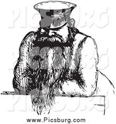 Clip Art of a Vintage Man in Black and White by Picsburg