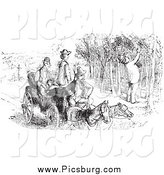 Clip Art of a Vintage Man Picking Grapes and Others Watching, in Black and White by Picsburg