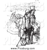 Clip Art of a Vintage Men on a Boat in Black and White by Picsburg