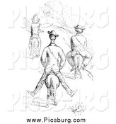 Clip Art of a Vintage Men on Tiny Horses, in Black and White by Picsburg
