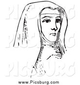 Clip Art of a Vintage Nun in Black and White by Picsburg