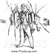 February 4th, 2014: Clip Art of a Vintage Pipe Vendor in Black and White by Picsburg