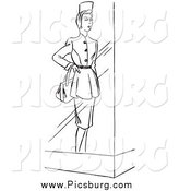 Clip Art of a Vintage Store Window Mannequin Display Model in a Dress, Black and White by Picsburg