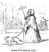 Clip Art of a Vintage Woman Walking a Dog in Black and White by Picsburg