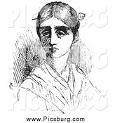 Clip Art of a Vintage Woman with a Pin in Her Hair in Black and White by Picsburg