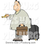 Clip Art of a Weary Caucasian Traveler Businessman Checking into a Hotel by Djart