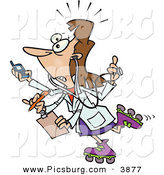 Clip Art of a White Brunette Female Doctor with 4 Arms Multi Tasking by Toonaday