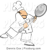 Clip Art of a White Male Cook Carrying a Big Spoon by Djart