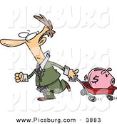 Clip Art of a White Man Pulling a Piggy Bank in a Red Wagon by Toonaday