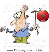 Clip Art of a White Man with a Watch, Preparing to Ring a Bell on Time by Toonaday