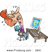 Clip Art of a White Woman Screaming and Crying in Frustration While Getting Computer Errors by Toonaday