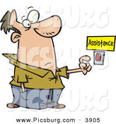 Clip Art of a Wide Eyed Caucasian Man About to Push a Customer Service Button Under an Assistance Sign by Toonaday