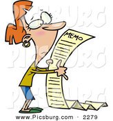 Clip Art of a Woman Reading a Very Long Memorandum from Her Office Work by Toonaday