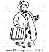 Clip Art of a Women Carrying a Suitcase - Black and White Line Art by Picsburg