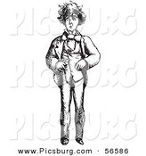 Clip Art of a Worried Man - Black and White by Picsburg