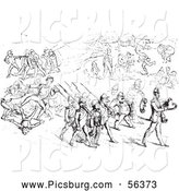 Clip Art of an Argument Between Men and Soldiers in Black and White by Picsburg