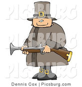 Clip Art of an Armed Pilgrim Man Hunting Birds and Holding a Musket by Djart