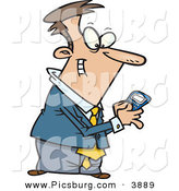 Clip Art of an Excited Man Using a BlackBerry Wireless Handheld Device to Send Text Messages by Toonaday
