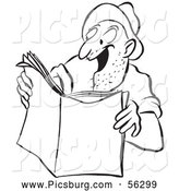 Clip Art of an Excited Worker Man Reading a Story Black and White by Picsburg