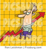 Clip Art of an Increase Arrow on a Graph Chart, Going Right Through a Caucasian Man by Toonaday