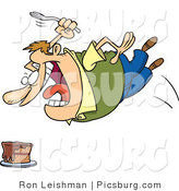 Clip Art of an Obese and Hungry Caucasian Man Diving Towards a Cake with a Fork by Toonaday