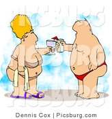 Clip Art of an Obese Husband and Wife Vacationing at the Beach and Clinking Glasses Together by Djart